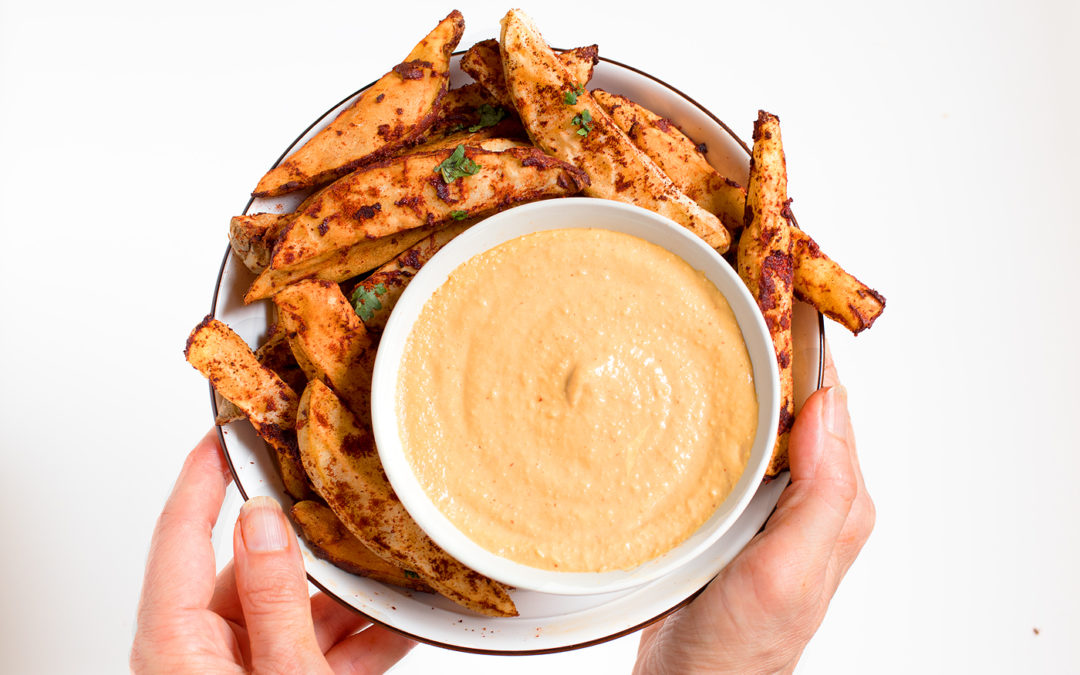 Baked Paprika Fries with Nacho Sauce