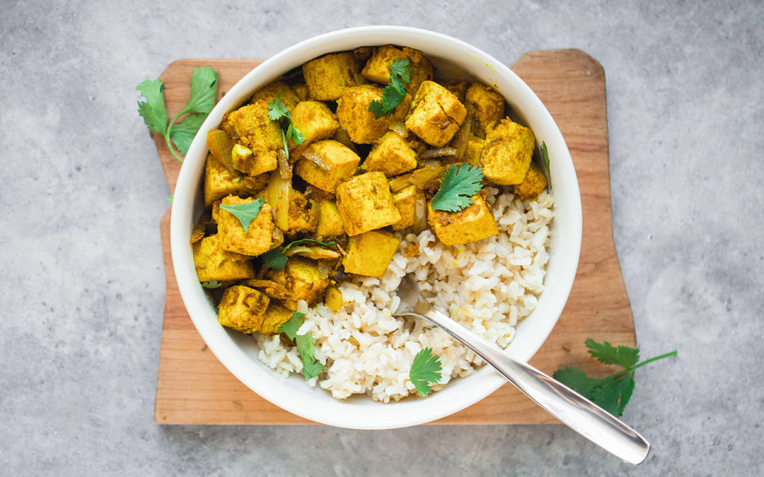 Vegan Paneer Sabzi | Dry Tofu Curry