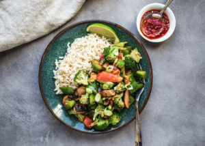 Thai hot and sour vegetable stir fry
