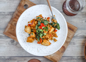 Tofu Scramble with Potatoes and Spinach